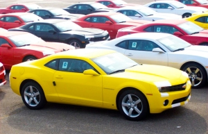 Camaros in the lot at Oshawa Assembly Plant